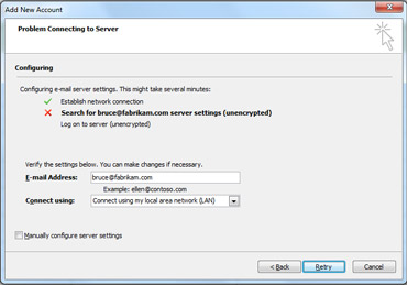 Add New Account dialog box indicating account could not be configured