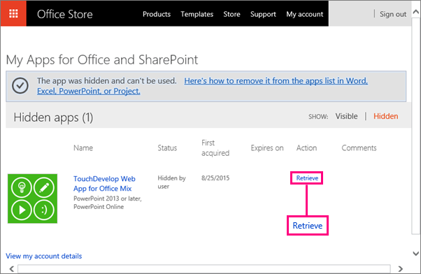 Shows Retrieve link on the Apps for Office and SharePoint site