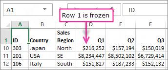 Row 1 frozen