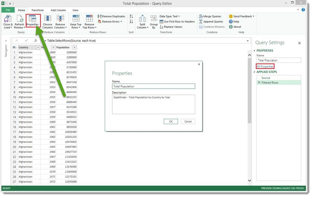 Power Query Properties within Query Editor