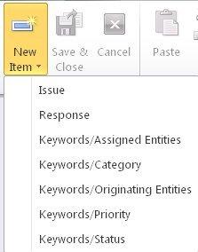 Keyword forms in the New Item menu