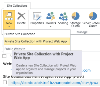 New > Private Site Collection with Project Web App