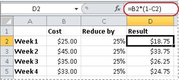 Example of formula for calculating a percentage