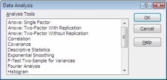 Data Analysis dialog box