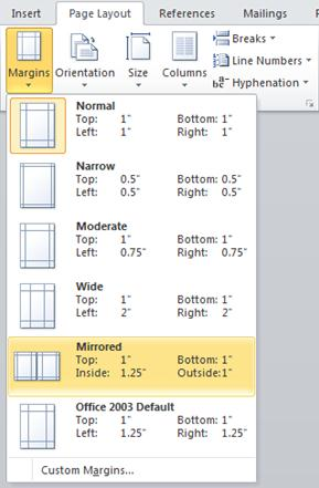 Margins Gallery with Mirrored option highlighted