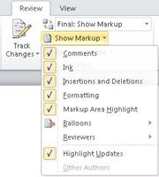 Show Markup list of options
