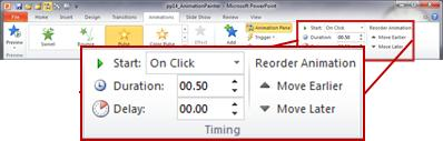 The Timing group on the Animations tab in the PowerPoint 2010 ribbon.