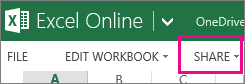 Share command in Excel Online ribbon, in Reading view