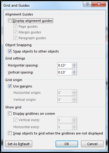 Word Grid and Guides dialog box