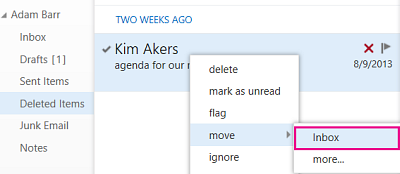 Menu path to to use to recover item from Deleted Items folder in Outlook Web App