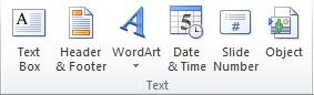 The Text group on the Insert tab in the PowerPoint 2010 ribbon.