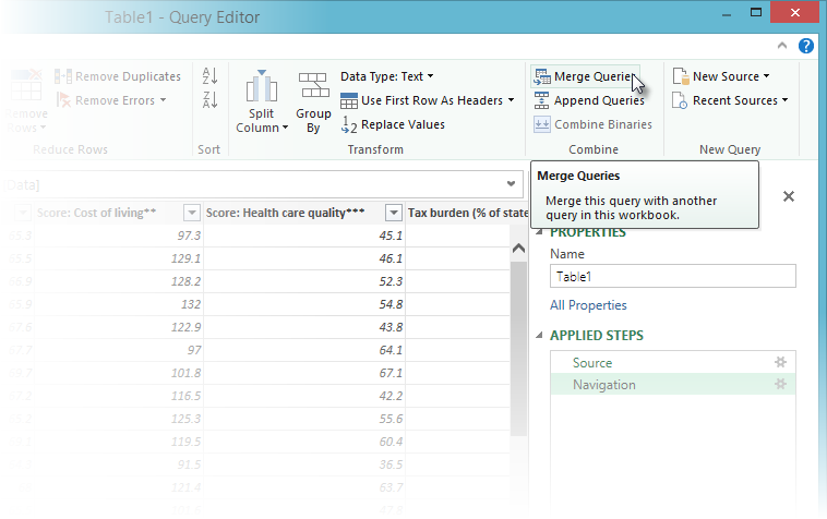 Merge Queries in Power Query