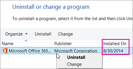 Use Installed on column to determine which version of Office to uninstall