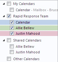 Calendar Group in the Navigation Pane