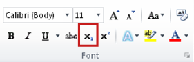 the subscript command in the font group