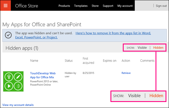 Hidden link highlighted on Office Store add-ins page