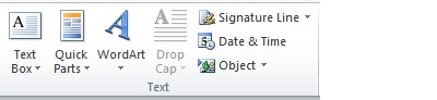 Text group on the Insert tab in Word