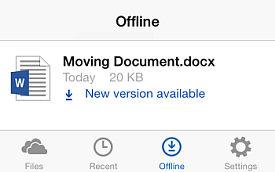 An updated version of a downloaded file is available