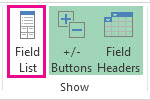 Field List button on the Analyze tab