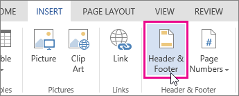 Image of Header & Footer button in Word Online