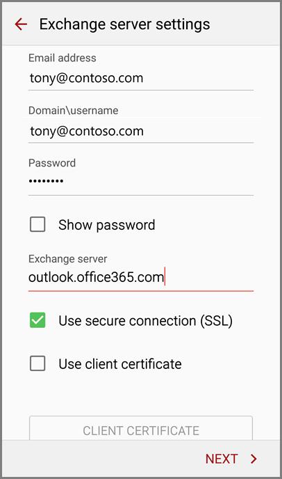 Exchange server settings