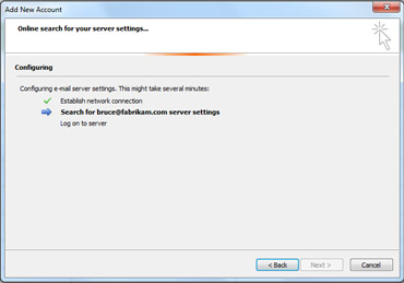 Add New Account dialog box indicating e-mail server settings are being configured