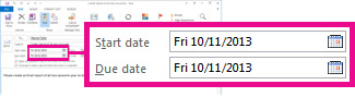 Start and Due Dates properties for an assigned task