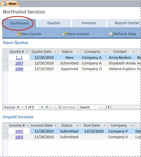 Dashboard tab of Services database template