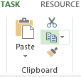 Copy button on the Task tab