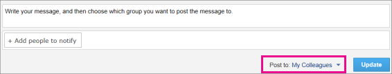 Screenshot of Yammer App for SharePoint Comment feed with the Post to drop-down menu highlighted