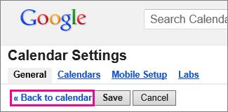 google calendar - click back to calendar