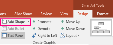 Shows the Add Shape button in SmartArt tools