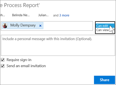 Select a permission setting for people invited to share a document