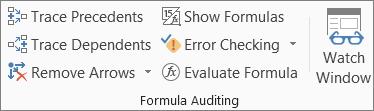 Formula Auditing group on the Formula tab