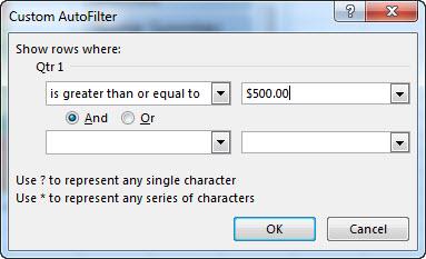 Custom AutoFilter dialog box
