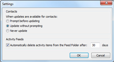 Outlook Social Connector Settings dialog box