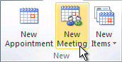 New Meeting command on the ribbon