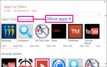 Click More apps to browse apps in the store