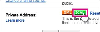 google calendar - create private ical