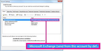 Microsoft Exchange account as appears in the Account Settings dialog box