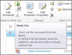 "SharePoint ribbon with ""Check Out"" selected"