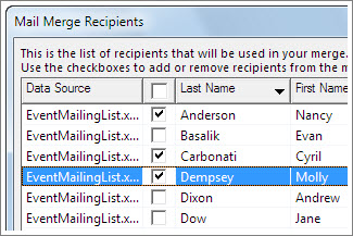 Select rows by checking the check box