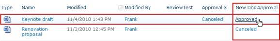 Click workflow status link