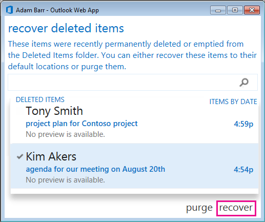 Outlook Web App Recover deleted items dialog box