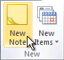 New Note command on the ribbon