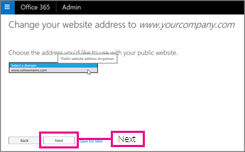 Choose the website address, and then choose Next