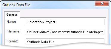 Outlook Data File dialog box