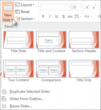New Slide layouts in PowerPoint.