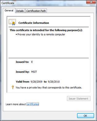 Certificate dialog