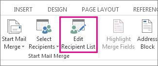 Edit Recipient List command